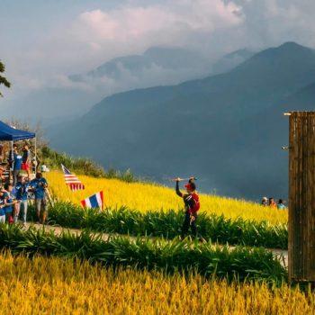 Vietnam marathon runner reaching Finish line