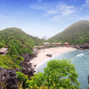 panoramic view of the Idyllic bay of monkey island