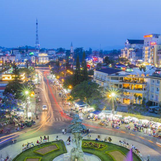 night light dalat city vietnam landmark city center